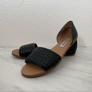 Steve Madden Black Leather Tayler Slide Sandals